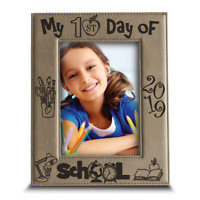 My First Day of  School- Preschool- Engraved Leather Picture Frame
