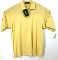Carnoustie Mens Light Yellow Short Sleeves Performance Polo Shirt Size Large