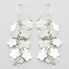 Handmade silver earrings hook Cluster Of 925 sterling silver Flowers 57mm drop