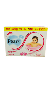 Pears Pure & Gentle Baby Soap with Pure Olive oil & Active Floral Cream 100g x 4
