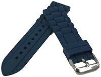 Silicone Cinturino Orologio ad Anelli Motivo Blu 18-26mm Bracciale Ricambio