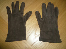 DEBENHAMS SIZE LARGE LADIES SUPER SOFT BROWN SUEDE GLOVES SILK LINED HAND FINISH