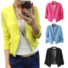 Women's Fashion Candy Color Solid Sexy Slim Suit Blazer Coat Jacket Intriguing