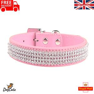 Bling Dogs Collar, Dog Puppy Diamante Collars, Sparlking Pink Rhinestones, S M L