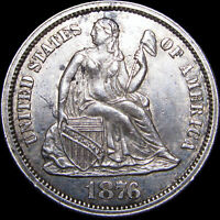 1876-CC Seated Liberty Dime Silver US Coin ---  STUNNING Type Coin --- #F639