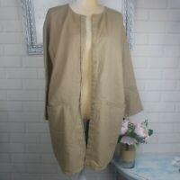 Chico's Women's Open front Jacket Blazer size 2 Medium Beige Linen Cotton