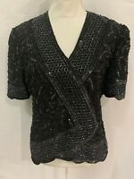 Brilliante by J.A. Vintage Black Lace Heavily Beaded Sequined Formal Blouse Sz L