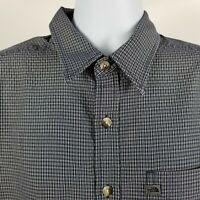 The North Face Mens Blue Beige Mini Check Casual Button Shirt Modal Polyester L