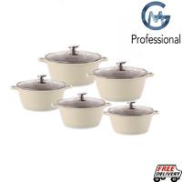 5pc Ceramic Coated Non Stick Die-Cast Casserole Set INDUCTION Cookware CREAM