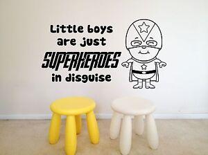 Little Boys, Superheroes, Nursery, Bedroom Playroom wall art vinyl decal sticker