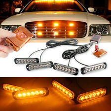 Car 6LED Amber Police Strobe Flash Light Dash Emergency Warning Lamp Kit Set