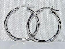 9CT WHITE GOLD 20mm TWISTED LADIES HOOP EARRINGS