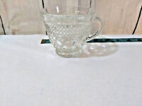 Anchor Hocking Punch Bowl Cup Clear Diamond Cut Pressed Glass Replacement Cup