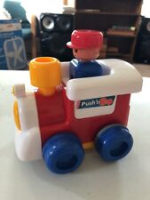 Vintage 1991 TOMY Push'N Go Train Engine Primary Colors Retired Toy Works! EUC