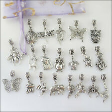 20Pcs Mixed Tibetan Silver Animal Dangle Charms Beads fit European Bracelet F201