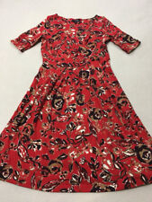 Lands End ST S Small Tall 6 8 Red Tan Watercolor Floral Crossover Bodice Dress