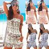 Womens Off Shoulder Strapless Playsuit Beach Wear Bikini Cover Up Jumpsuit Dress
