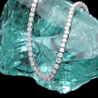 "16"" Created Diamond Tennis Necklace 24.00tcw Round 925 Solid Sterling Silver 4mm"