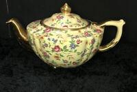 Vintage Art Deco James Sadler Chintz Teapot Rare floral gold