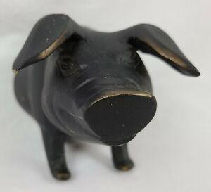 """Creative Co-Op DA6575 Metal Pig Piggy Hog Wall Hook 7.5"""" (Brass Antiqued) NWT"""