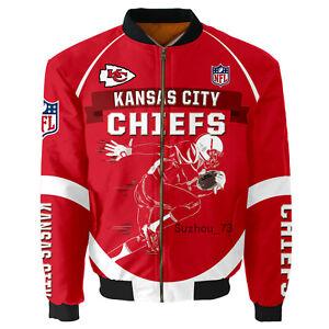 Men's Kansas City Chiefs Jacket MA1 Flight Bomber Thicken Coat Football Outwear