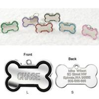 Bone Shape Engraved Dog Tags Pet Cat ID Tags Personalised Name Address for FREE