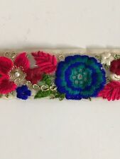 INDIAN BLUE GREEN PINK FLORAL EMBOSSED EMBROIDED FINE FABRIC TRIM/LACE-1MTR