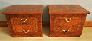 Pair of Late 20th Century Italian Walnut Laminate Bedside Chests Night Stands
