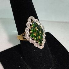 1.54 CTW Genuine Chrome Diopside & Diamond 10KT Two tone Gold Ring Size 7 NEW