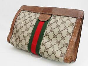 【Rank B】GUCCI Vintage Pouch Clutch Bag Sherry Line GG Pattern PVC Brown A135