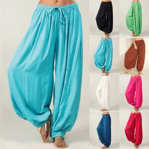 Womens Elastic Wide Baggy Chiffon Cropped Strappy Harem Ladies Pants Trousers