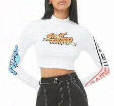 Street Fighter Capcom Video Game Mock Neck Long Sleeve Crop Cropped Tee S NEW