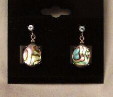 Sale! Estate Mult-Color Abalone w Topaz Dangle 925 Sterling Earrings w Posts