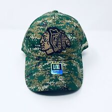 NEW Mens Reebok Chicago Blackhawks Structured Camouflage Flex Fit Hat L / XL