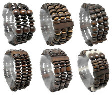 wm007 wholesale lots 6pcs 3 rows wood beads stretch charm bracelet chain jewelry