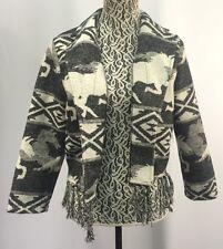 RVCA Black White Wool Blend Equestrian Horse Western Fringed Jacket Size M NWT