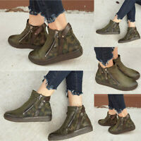 Women Block Mid Flat Heels Camo Sandals Round Toe Ankle Zipper Boots Shoes Size