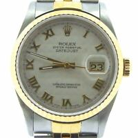 Rolex Datejust Mens 18K Gold Stainless Steel Watch Jubilee Pyramid Roman 16233