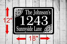 """Personalized Home Address Sign Aluminum 12""""x18"""" Custom House Number Plaque sq28"""