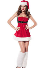 Red Velvet Mrs Santa Claus Christmas Festive Dress Costume Holiday Lingerie 7162
