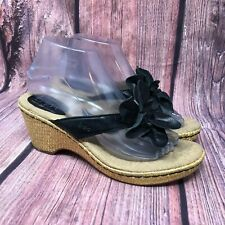 Born BOC Women's Black Leather Floral Wedge Espadrille Thong Sandals Size 8