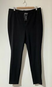 """City Chic Plus Size 14 XS Black Pants High Rise Tapered 30"""" Leg Work NEW BNWT"""