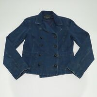 Ralph Lauren Jeans Co Women Blue Denim Jacket Military Casual Style Small S