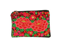 Small Flower Embroidery Fabric Makeup Pouch w/ Zipper Closure & Wrist Strap