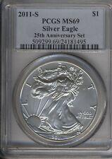 2011 ***S Mint Mark*** 25th Anniversary Set PCGS MS 69 American Silver Eagle