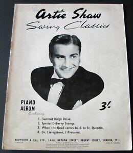 THE ARTIE SHAW SWING CLASSICS PIANO SHEET MUSIC BOOK (1946) JAZZ ENGLAND