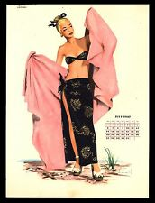 """VINTAGE 1947 """"LADY IN PINK"""" PIN UP GIRL CALENDAR ART PRINT BY J. FREDERICK SMITH"""