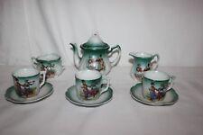 Antique 10 Piece Miniature Childrens Teaset Dutch Scene Boy Girl Teapot Germany