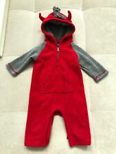 Gap Baby Boy 3-6 Month Warm Coverall Outfit Red With Hood And Horns