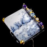 Dendritic Jasper Ring Silver 925 Sterling Fine Art28ct+ Size 8.5 /R128819